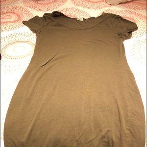 Olive green. Knee length. Tee shirt dress.